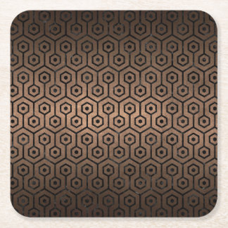 HEXAGON1 BLACK MARBLE & BRONZE METAL (R) SQUARE PAPER COASTER