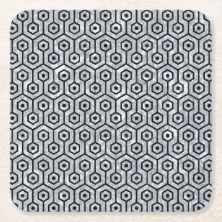 HEXAGON1 BLACK MARBLE & GRAY MARBLE (R) SQUARE PAPER COASTER
