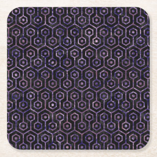 HEXAGON1 BLACK MARBLE & PURPLE MARBLE SQUARE PAPER COASTER
