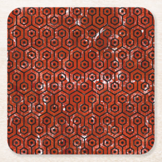 HEXAGON1 BLACK MARBLE & RED MARBLE (R) SQUARE PAPER COASTER