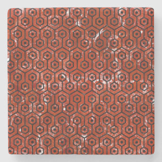 HEXAGON1 BLACK MARBLE & RED MARBLE (R) STONE BEVERAGE COASTER