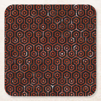 HEXAGON1 BLACK MARBLE & RED MARBLE SQUARE PAPER COASTER