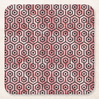 HEXAGON1 BLACK MARBLE & RED & WHITE MARBLE (R) SQUARE PAPER COASTER