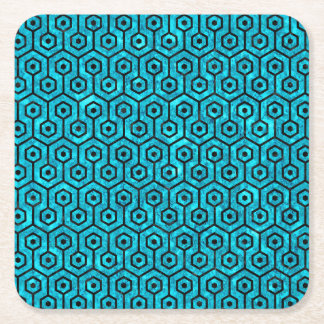 HEXAGON1 BLACK MARBLE & TURQUOISE MARBLE (R) SQUARE PAPER COASTER