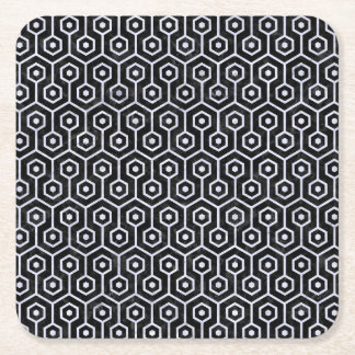HEXAGON1 BLACK MARBLE & WHITE MARBLE SQUARE PAPER COASTER