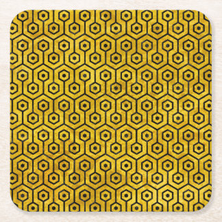 HEXAGON1 BLACK MARBLE & YELLOW MARBLE (R) SQUARE PAPER COASTER