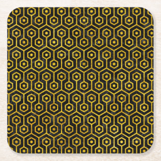 HEXAGON1 BLACK MARBLE & YELLOW MARBLE SQUARE PAPER COASTER