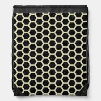 HEXAGON2 BLACK MARBLE & BEIGE LINEN DRAWSTRING BAG