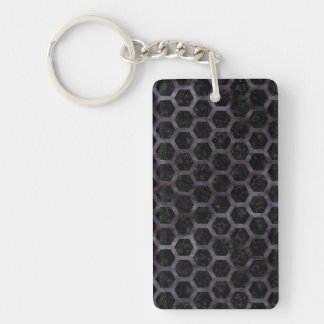 HEXAGON2 BLACK MARBLE & BLACK WATERCOLOR KEYCHAIN