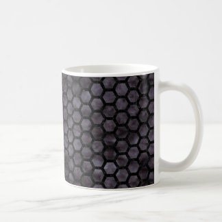 HEXAGON2 BLACK MARBLE & BLACK WATERCOLOR (R) COFFEE MUG
