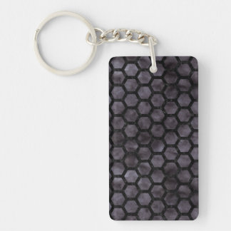 HEXAGON2 BLACK MARBLE & BLACK WATERCOLOR (R) KEYCHAIN