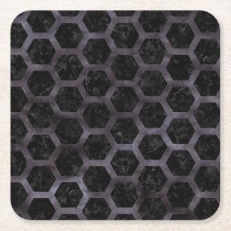 HEXAGON2 BLACK MARBLE & BLACK WATERCOLOR SQUARE PAPER COASTER