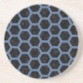 HEXAGON2 BLACK MARBLE & BLUE DENIM COASTER