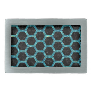 HEXAGON2 BLACK MARBLE & BLUE-GREEN WATER BELT BUCKLE