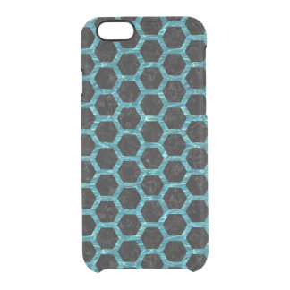 HEXAGON2 BLACK MARBLE & BLUE-GREEN WATER CLEAR iPhone 6/6S CASE