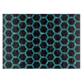 HEXAGON2 BLACK MARBLE & BLUE-GREEN WATER CUTTING BOARD