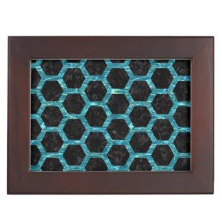 HEXAGON2 BLACK MARBLE & BLUE-GREEN WATER KEEPSAKE BOX