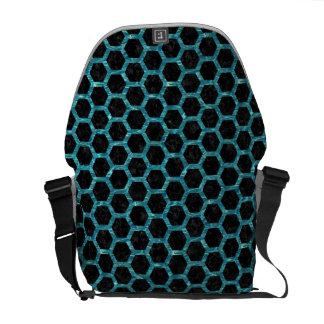 HEXAGON2 BLACK MARBLE & BLUE-GREEN WATER MESSENGER BAG