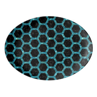 HEXAGON2 BLACK MARBLE & BLUE-GREEN WATER PORCELAIN SERVING PLATTER