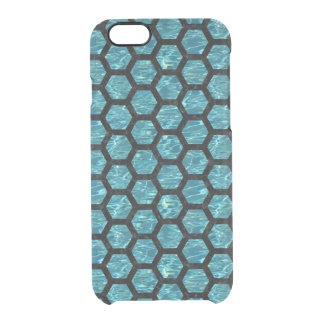 HEXAGON2 BLACK MARBLE & BLUE-GREEN WATER (R) CLEAR iPhone 6/6S CASE