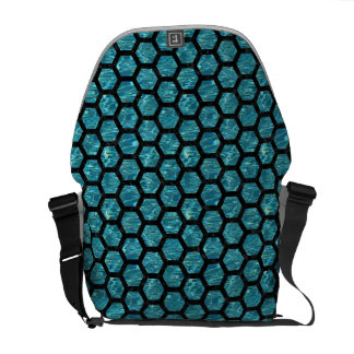 HEXAGON2 BLACK MARBLE & BLUE-GREEN WATER (R) COURIER BAG