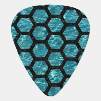 HEXAGON2 BLACK MARBLE & BLUE-GREEN WATER (R) GUITAR PICK
