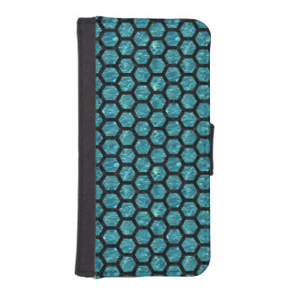 HEXAGON2 BLACK MARBLE & BLUE-GREEN WATER (R) iPhone SE/5/5s WALLET CASE
