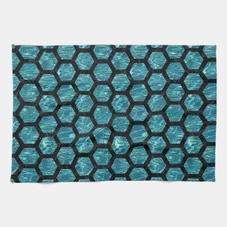 HEXAGON2 BLACK MARBLE & BLUE-GREEN WATER (R) KITCHEN TOWEL
