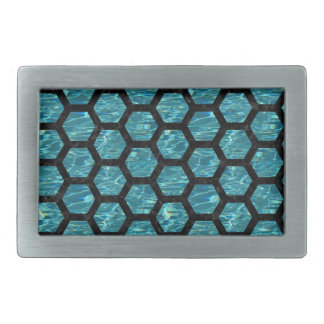 HEXAGON2 BLACK MARBLE & BLUE-GREEN WATER (R) RECTANGULAR BELT BUCKLE