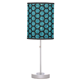 HEXAGON2 BLACK MARBLE & BLUE-GREEN WATER (R) TABLE LAMP