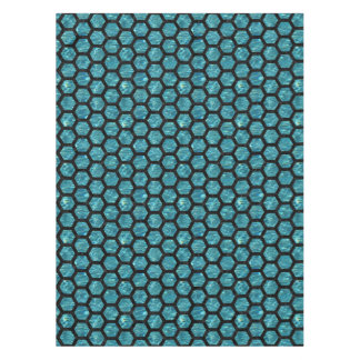 HEXAGON2 BLACK MARBLE & BLUE-GREEN WATER (R) TABLECLOTH