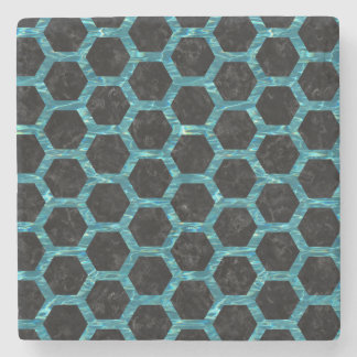 HEXAGON2 BLACK MARBLE & BLUE-GREEN WATER STONE COASTER