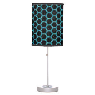 HEXAGON2 BLACK MARBLE & BLUE-GREEN WATER TABLE LAMP