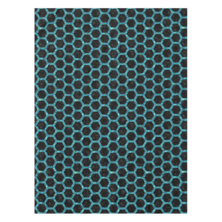 HEXAGON2 BLACK MARBLE & BLUE-GREEN WATER TABLECLOTH