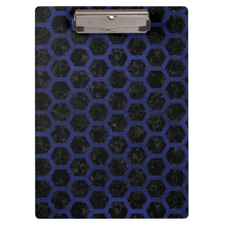 HEXAGON2 BLACK MARBLE & BLUE LEATHER CLIPBOARD