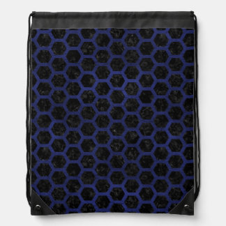 HEXAGON2 BLACK MARBLE & BLUE LEATHER DRAWSTRING BAG