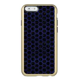 HEXAGON2 BLACK MARBLE & BLUE LEATHER INCIPIO FEATHER® SHINE iPhone 6 CASE
