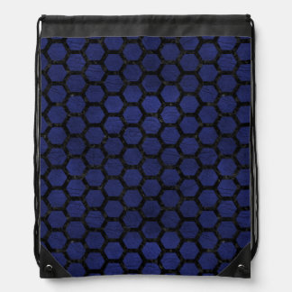 HEXAGON2 BLACK MARBLE & BLUE LEATHER (R) DRAWSTRING BAG