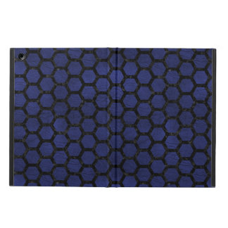HEXAGON2 BLACK MARBLE & BLUE LEATHER (R) iPad AIR COVER
