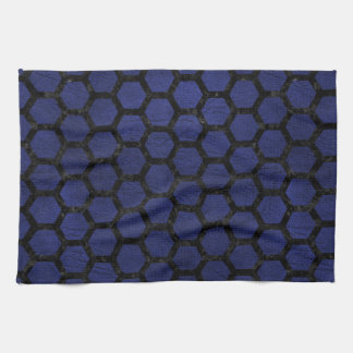 HEXAGON2 BLACK MARBLE & BLUE LEATHER (R) KITCHEN TOWEL
