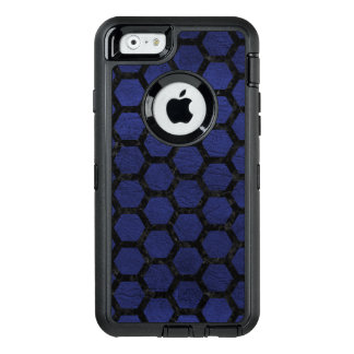 HEXAGON2 BLACK MARBLE & BLUE LEATHER (R) OtterBox DEFENDER iPhone CASE