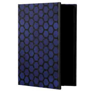 HEXAGON2 BLACK MARBLE & BLUE LEATHER (R) POWIS iPad AIR 2 CASE