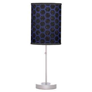 HEXAGON2 BLACK MARBLE & BLUE LEATHER TABLE LAMP