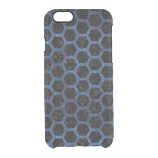 HEXAGON2 BLACK MARBLE & BLUE STONE CLEAR iPhone 6/6S CASE