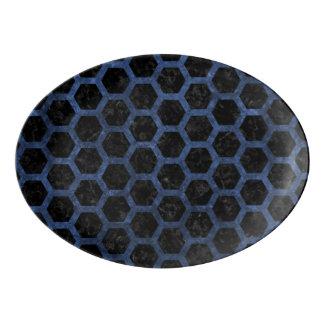 HEXAGON2 BLACK MARBLE & BLUE STONE PORCELAIN SERVING PLATTER