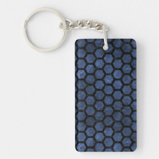 HEXAGON2 BLACK MARBLE & BLUE STONE (R) KEYCHAIN