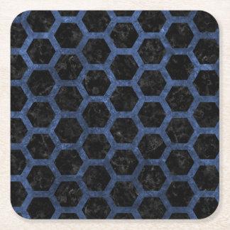 HEXAGON2 BLACK MARBLE & BLUE STONE SQUARE PAPER COASTER