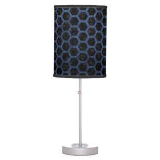 HEXAGON2 BLACK MARBLE & BLUE STONE TABLE LAMP