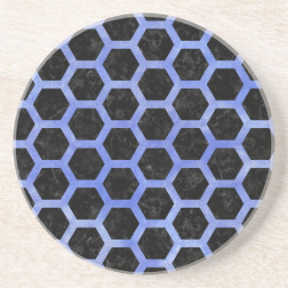 HEXAGON2 BLACK MARBLE & BLUE WATERCOLOR COASTER