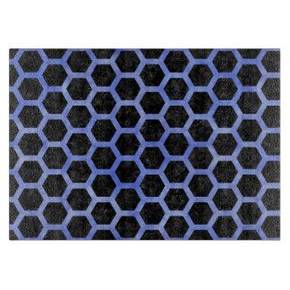 HEXAGON2 BLACK MARBLE & BLUE WATERCOLOR CUTTING BOARD
